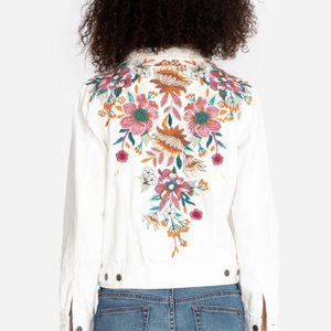 Johnny Was Nena Embroidered Jean Jacket, Large NWT